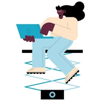 Афро женщина с характером технологии ноутбука