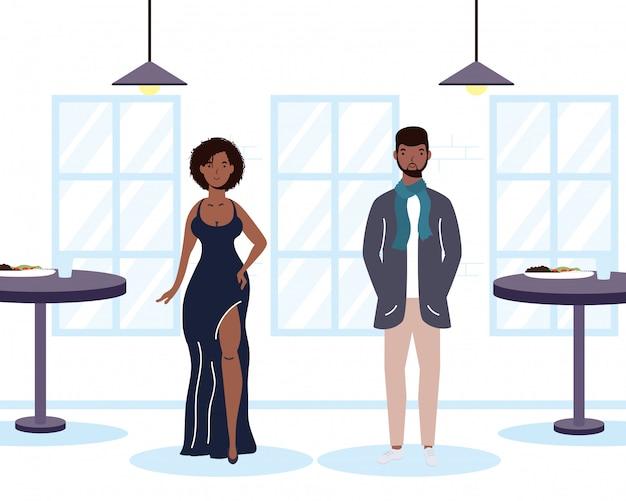 レストランのシーンでアフロの若いカップル愛好家