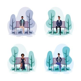 公園の椅子のアフロの若者アバターキャラクターイラストデザイン