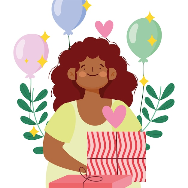 Afroamerican girl gift box and balloons decoration vector illustration