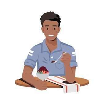 アイスクリーム孤立した男を食べるアフリカ系アメリカ人の男