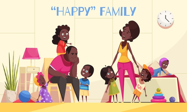 Afroamerican large family in home interior with nimble happy kids and tired parents cartoon vector illustration