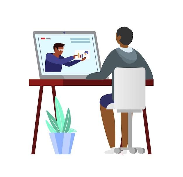 Afroamerican man watching finance blog on laptop.