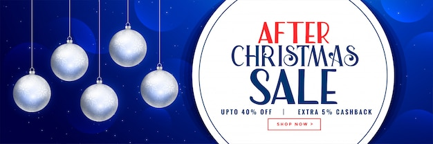 After christmas sale banner design with xmas balls