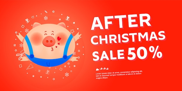 After christmas sale banner with fat pig