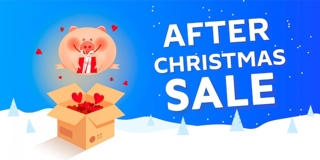 After christmas sale banner with santa pig, numbers 2019.