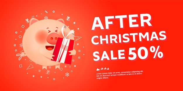 After christmas sale banner with santa pig