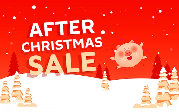 After christmas sale concept banner with pig