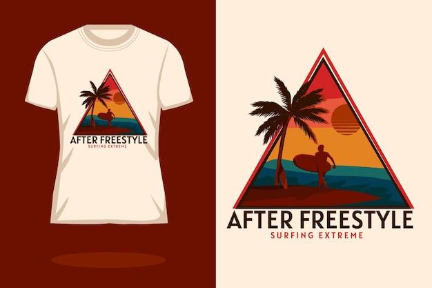 フリースタイルのレトロなシルエットのtシャツのデザインの後