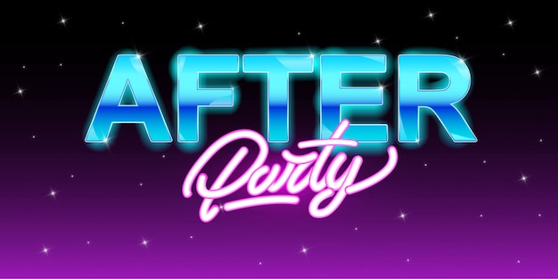 After party banner in neon style