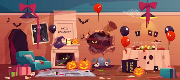 After party mess in halloween decorated room