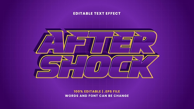 After shock editable text effect in modern 3d style