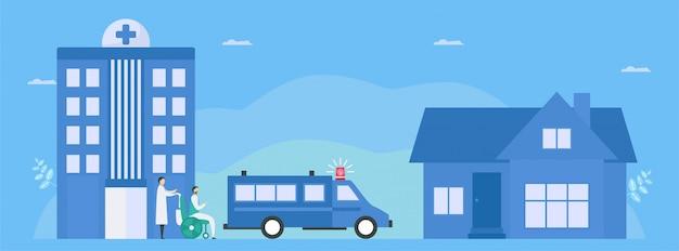 После лечения помощник врача отправит обратно больного, который выздоравливает домой. рабочий процесс ухода за пациентами. медицинская иллюстрация с плоским крошечный стиль.