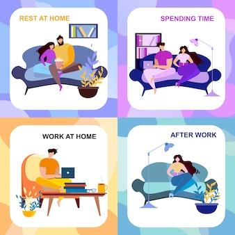 After work rest at home spending time banner set