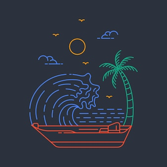 Иллюстрация против волн в рисованной