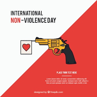 Against violence background  of gun with heart pennant