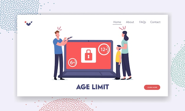 Age restriction notification landing page template. tiny mother cover eyes of son at huge laptop with adult content video. characters shocked with xxx movie. cartoon people vector illustration