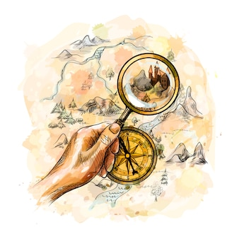 Aged antique nautical compass and hand holding magnifying glass with treasure map from a splash of watercolor, hand drawn sketch.  illustration of paints