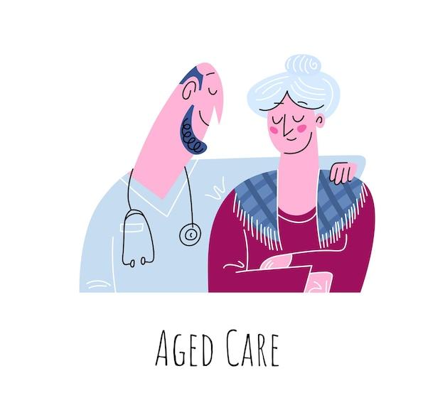 노인 케어 : 할머니와 의사는 흰색에 고립 된 평면 귀여운 미소