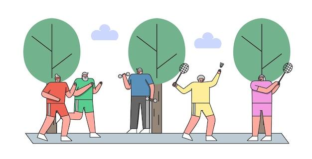 Пожилые персонажи здорового образа жизни группа людей, бегающих на открытом воздухе