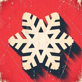 Aged christmas snowflake background with halftone shadow