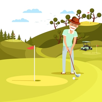 Aged concentrated man shooting golf ball to hole.