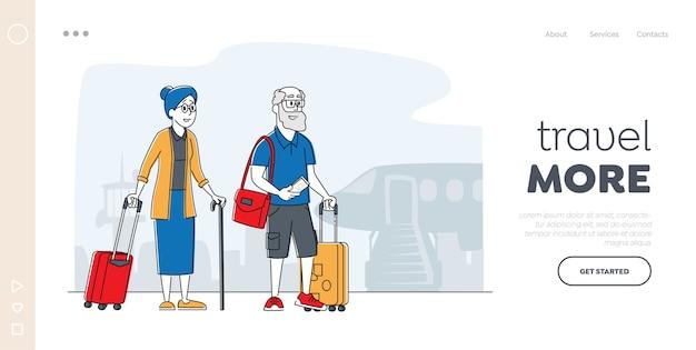 老夫婦の航海のランディングページテンプレート。旅行のために飛行機に搭乗する荷物を持ったシニア観光キャラクター、外国に行く高齢者旅行者。線形の人々