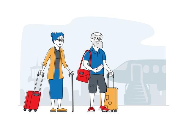 老夫婦の航海。旅行のために飛行機に搭乗する荷物を持ったシニア男性女性観光キャラクター、外国に行く荷物を持った高齢者旅行者。線形の人々