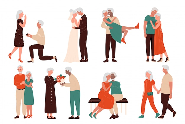 Aged happy loving couples character flat concept vector illustration set. senior men and women time together, marriage proposition, wedding, sitting in hug on bench, walking hand in hand