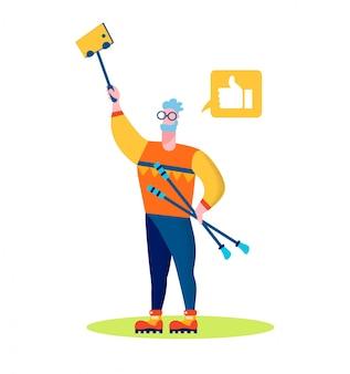 Aged man hold nordic walking sticks making selfie
