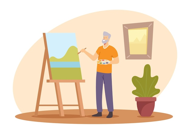 Aged people hobby, senior man artist creative occupation, old male painter character hold paintbrush in hand in front of canvas on easel drawing with landscape with paints. cartoon vector illustration