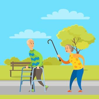 Aged people walking in park, pensioner vector