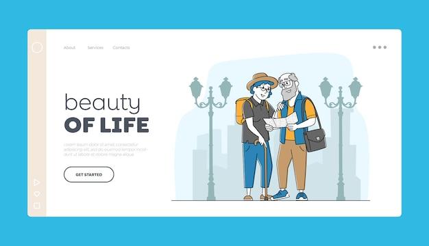 Шаблон целевой страницы путешествия для пожилых людей.