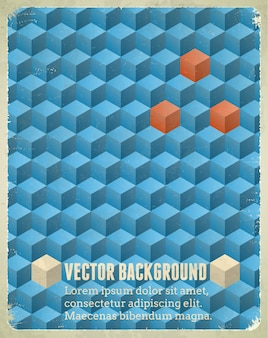 Aged poster with blue cubes