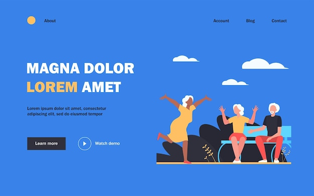 Aged woman running to friends to say hello landing page. vacation, relaxation
