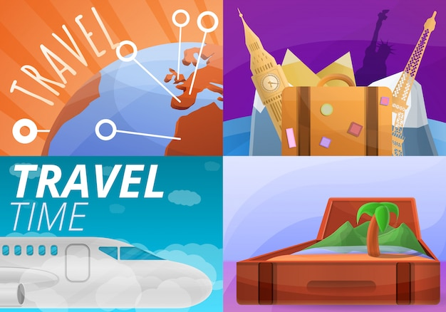 Agency travel illustration set, cartoon style