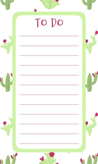 Agenda blank list with cactus on background in hand drawn cartoon doodle style
