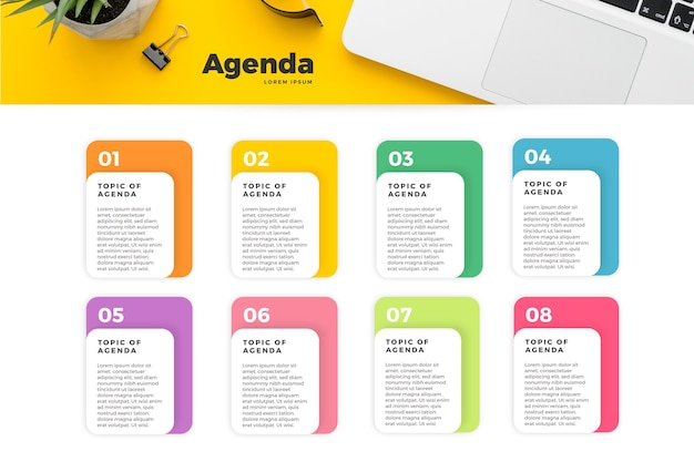Agenda chart infographic concept