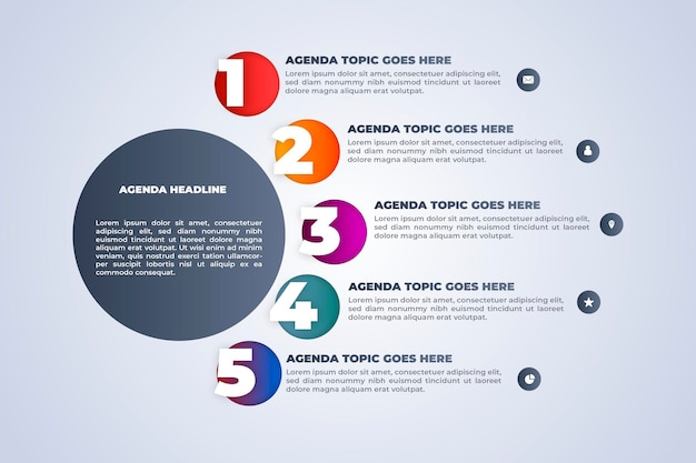 Agenda chart infographic template