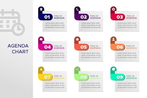 Agenda chart infographic