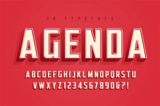 Agenda display font design, alphabet, typeface, letters and numbers