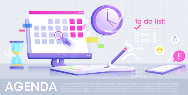 Agenda website concept banner. the monitor screen with a calendar and daily notebook with pencil and phone with application.   flat design.