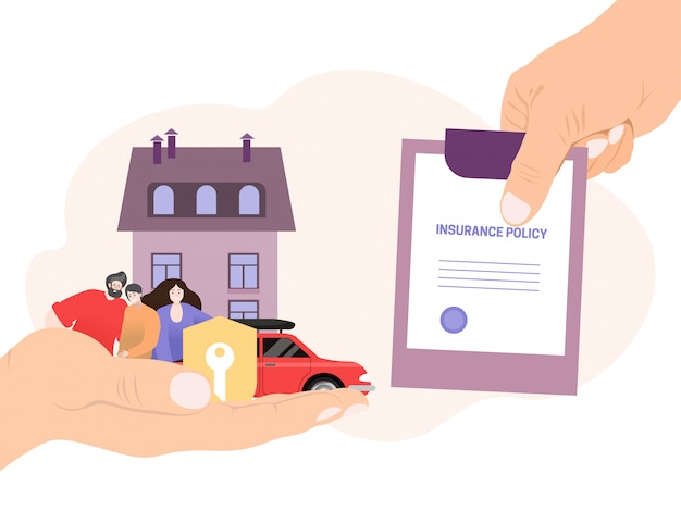 Agent hand hold insurance policy, concept money coverage save  on white,   illustration. people character family.