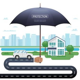 집과 차 위에 우산을 들고 에이전트입니다. 재산 보험 우산 보호 개념 그림입니다. 자동차와 우산 아래 집