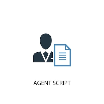 Agent script concept 2 colored icon. simple blue element illustration. agent script concept symbol design. can be used for web and mobile ui/ux