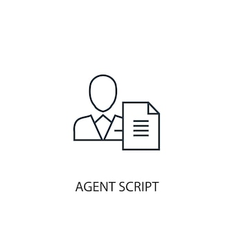 Agent script concept line icon. simple element illustration. agent script concept outline symbol design. can be used for web and mobile ui/ux