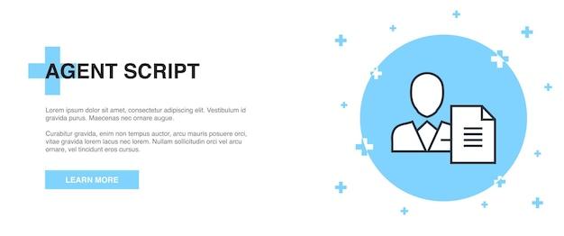Agent script icon, banner outline template concept. agent script line illustration design