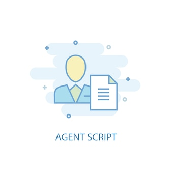 Agent script line concept. simple line icon, colored illustration. agent script symbol flat design. can be used for ui/ux