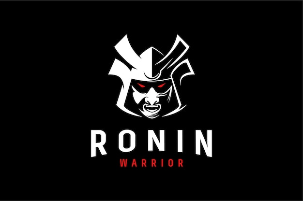 Aggresive logo of ronin japanese warrior
