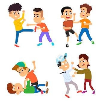 공격적인 깡패 애들이 싸 웁니다. 왕따 어린이 만화 캐릭터 세트. 어린 시절의 침략 폭력. 플랫 스타일